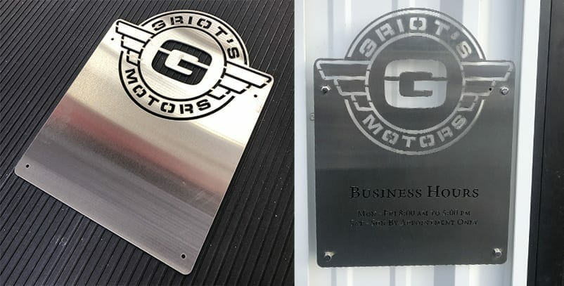 Laser-cut sign for Griot's Motors