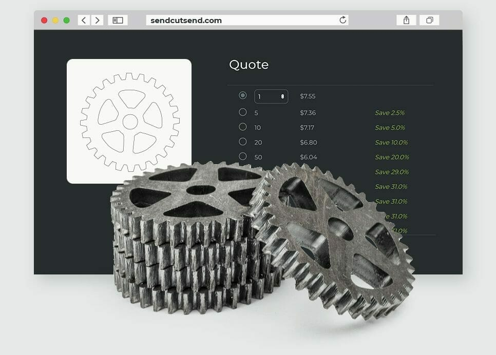 Custom parts starting at $1 ($29 minimum order) from SendCutSend