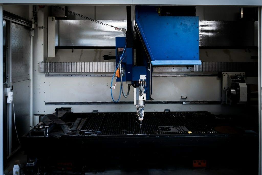 Laser cutting machine still in work area