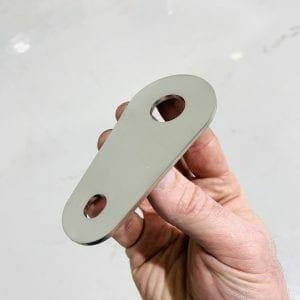 304 Stainless steel bracket being held in hand